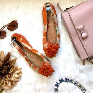 Bacio 61 Orange and White Ballet Flats Size 8.5